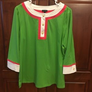 Talbots pink and green top